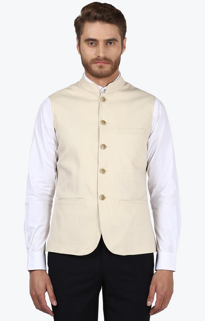Park Avenue | Fawn Solid Ethnic Jacket