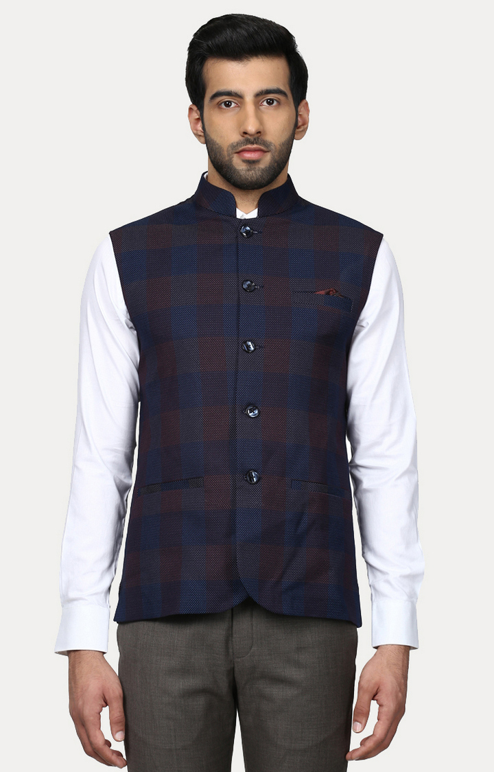 Park Avenue   Dark Blue Checked Ethnic Jacket