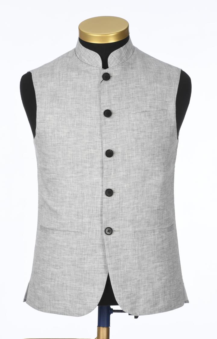Park Avenue | Grey Melange Ethnic Jacket