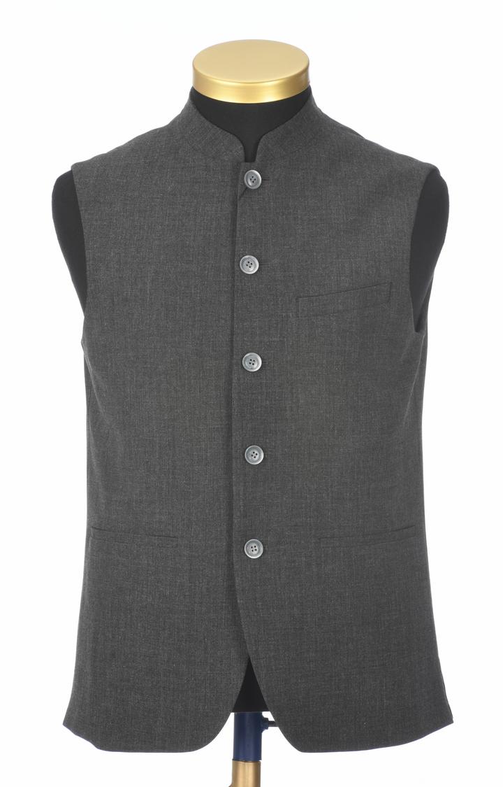 Park Avenue   Dark Grey Melange Ethnic Jacket