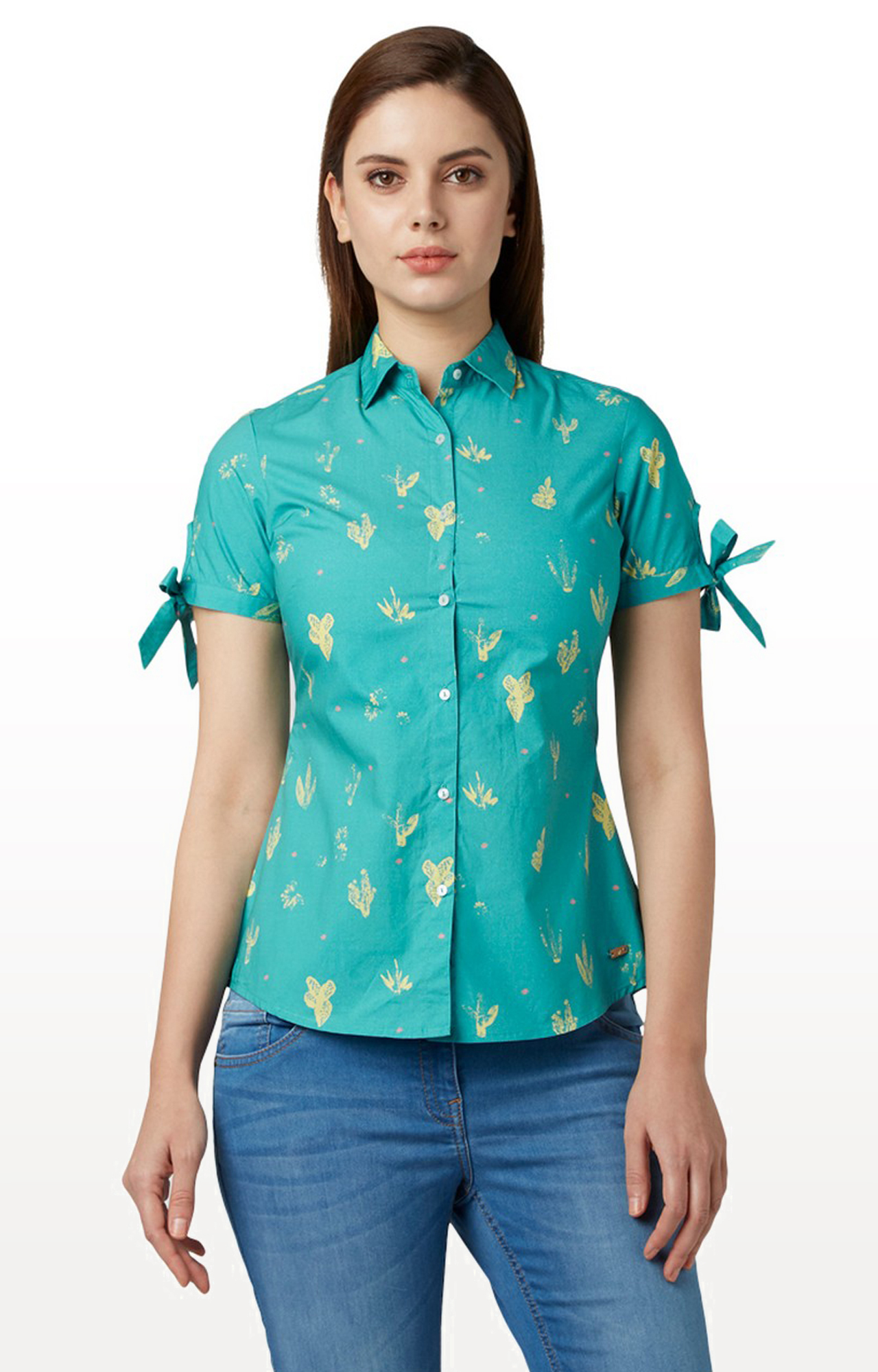 Park Avenue | Turquoise Printed Casual Shirt