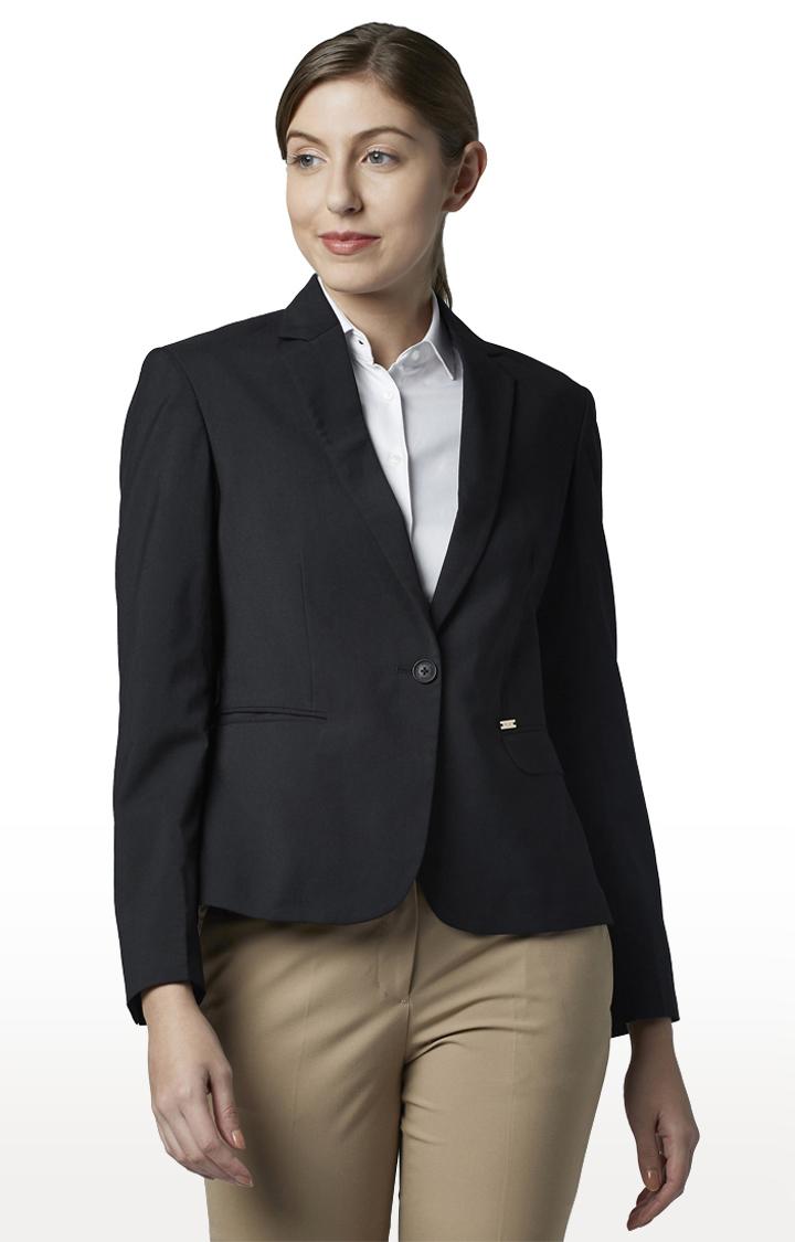 Park Avenue   Black Solid Blazer