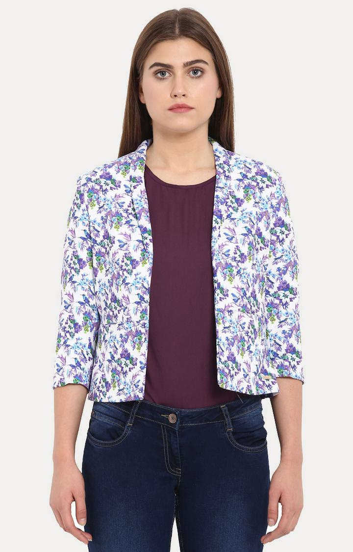 Park Avenue   White and Purple Printed Blazer