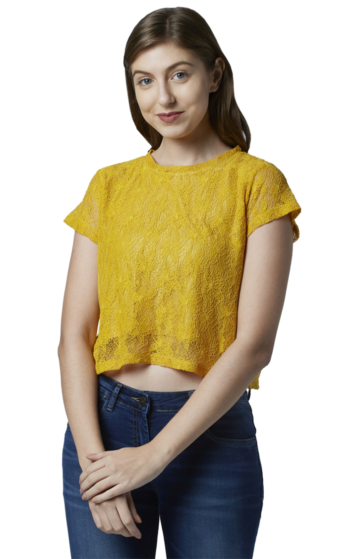 Park Avenue   Yellow Embroidered Crop Top