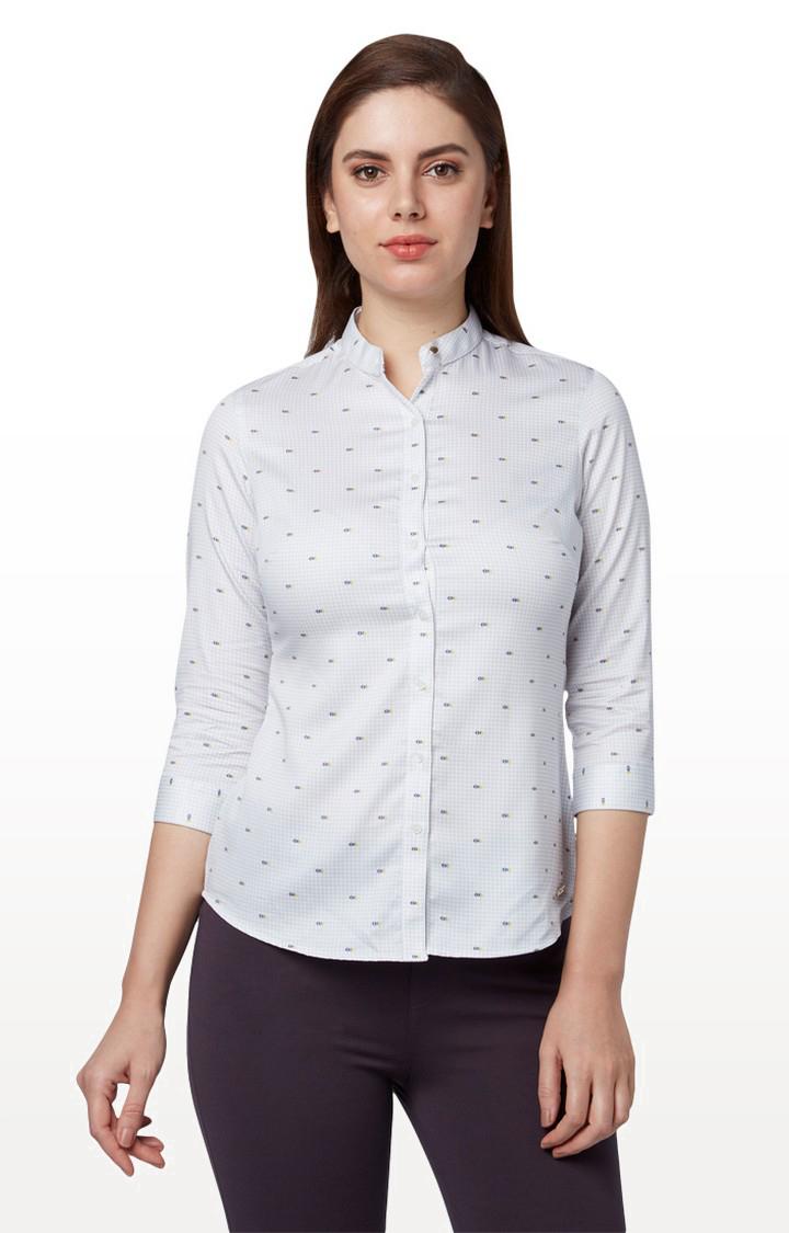 Park Avenue | Off White Printed Formal Shirt