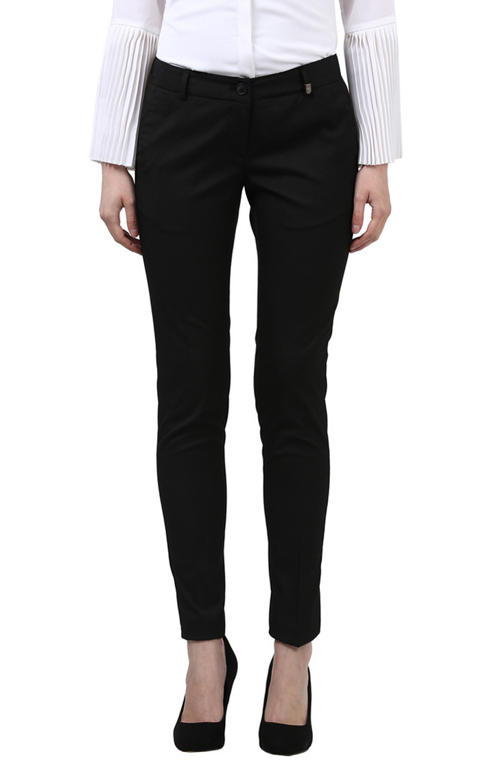Park Avenue | Black Solid Straight Trousers
