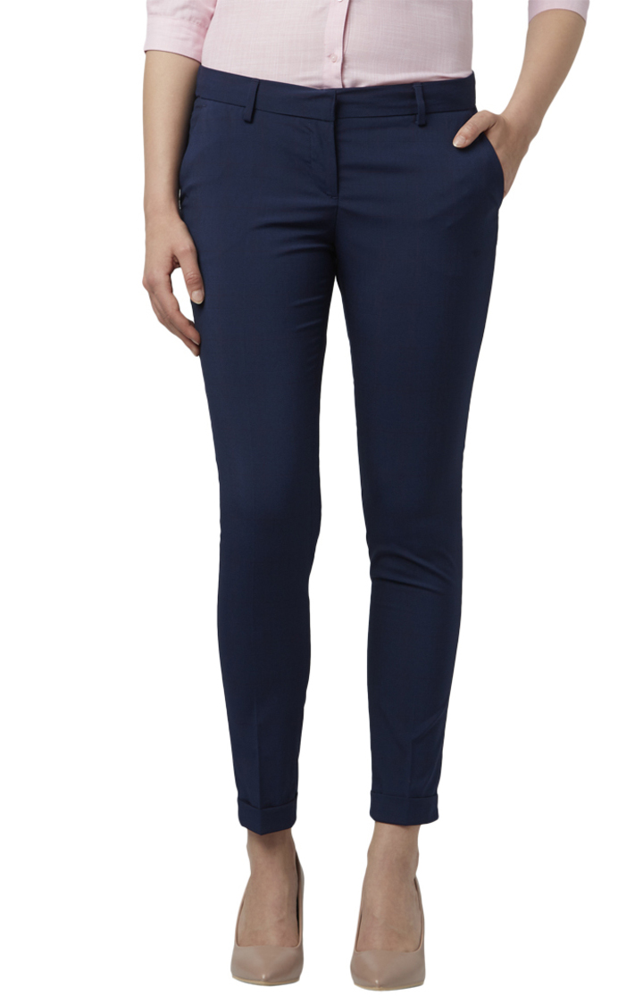 Park Avenue   Blue Tapered Fit Trousers