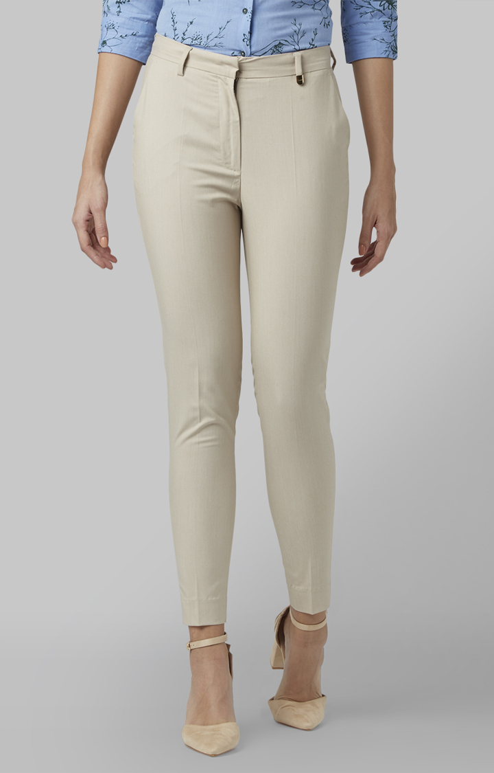 Park Avenue | Medium Fawn Tapered Solid Trousers