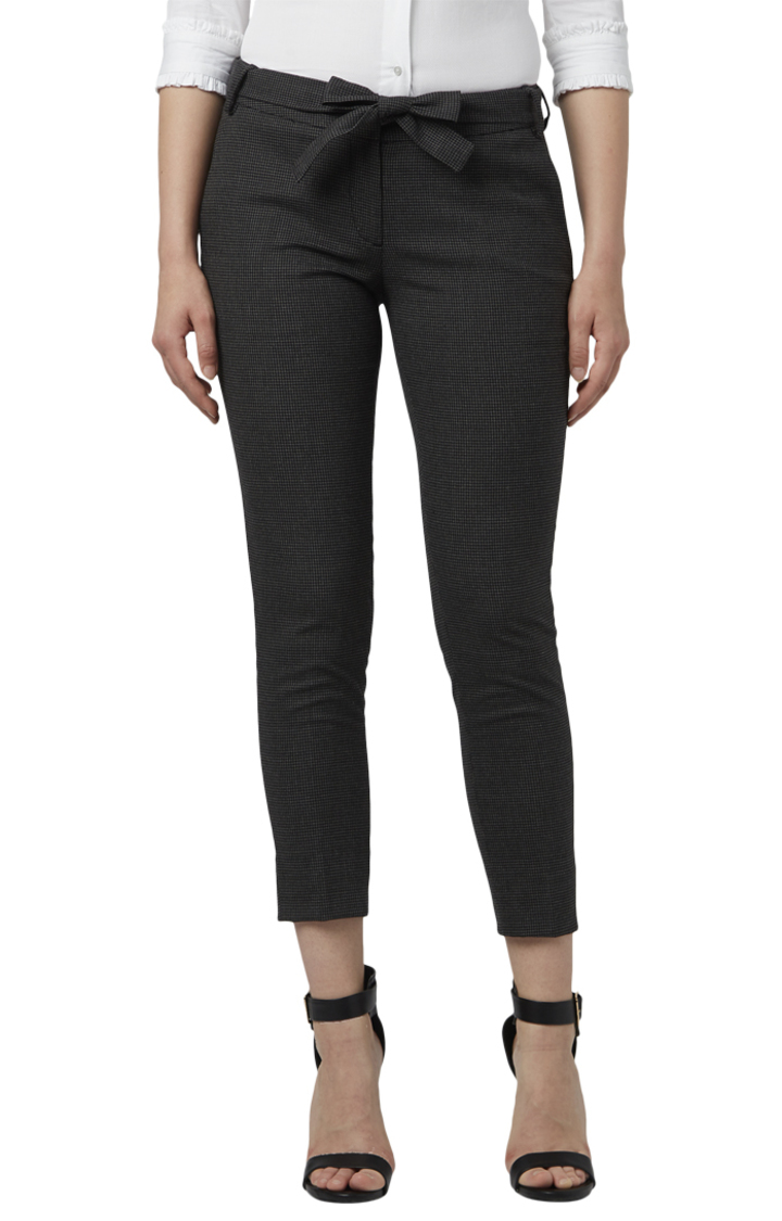 Park Avenue   Black Cropped Tapered Fit Trousers