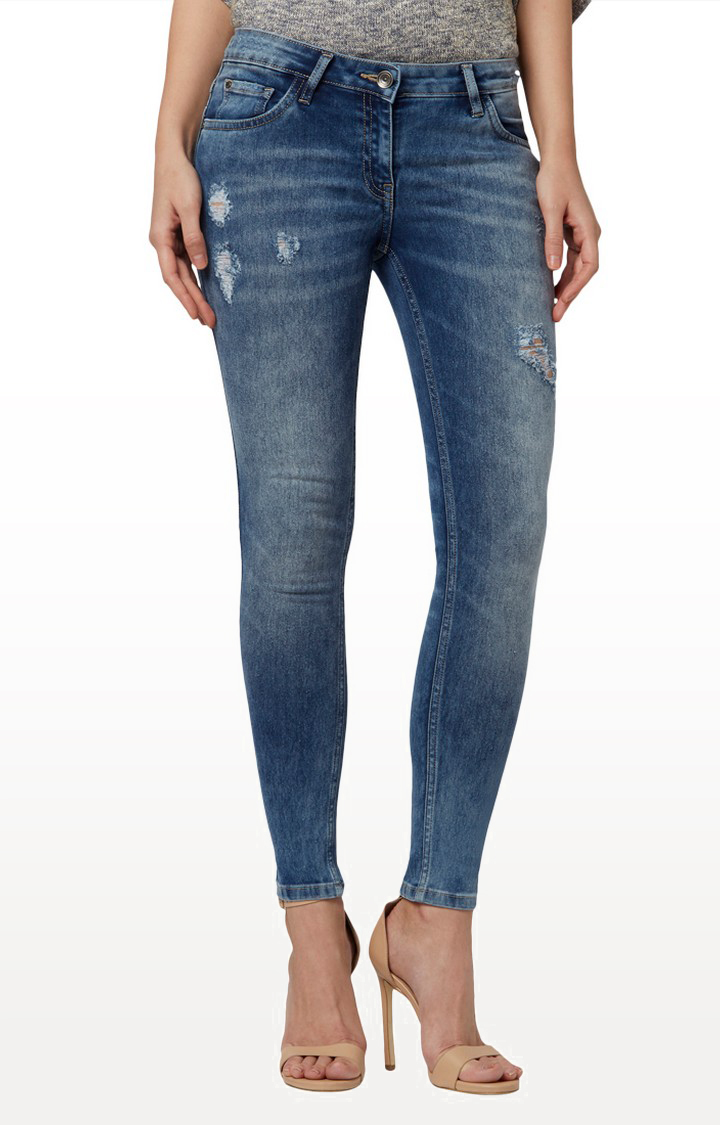 Park Avenue   Blue Ripped Tapered Jeans