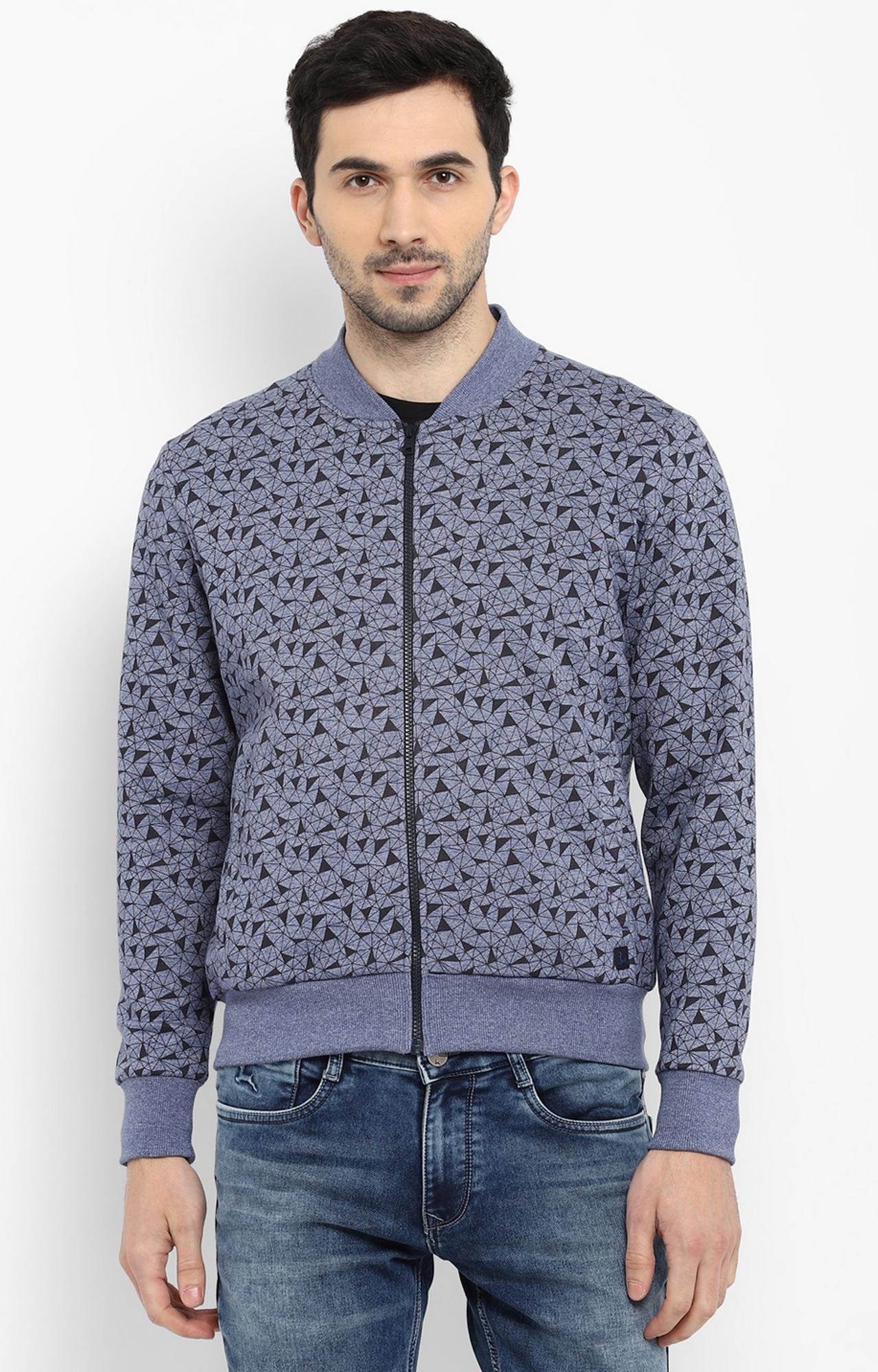 PARX | Medium Blue Printed Sweatshirt