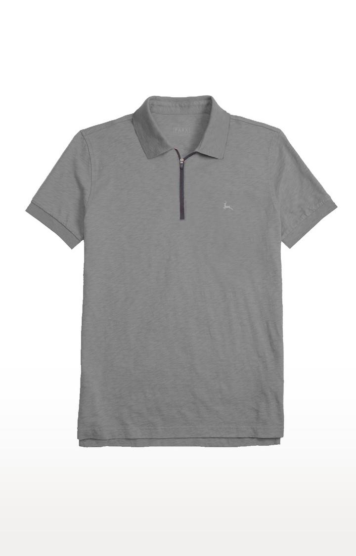PARX   Grey Melange Polo T-Shirt