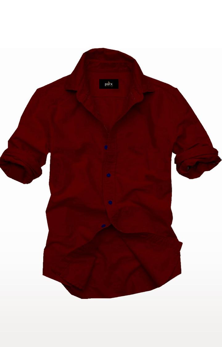 PARX | Maroon Solid Casual Shirt