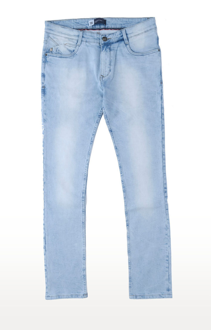 PARX   Light Blue Solid Straight Jeans