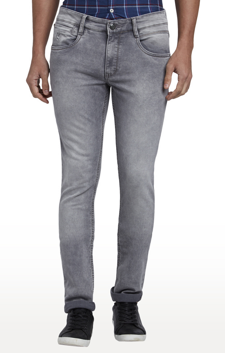 PARX   Medium Grey Solid Tapered Jeans