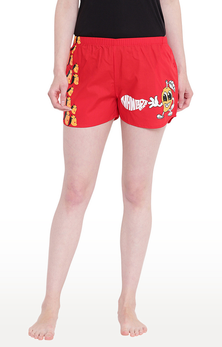 La Intimo | Red Printed Shorts