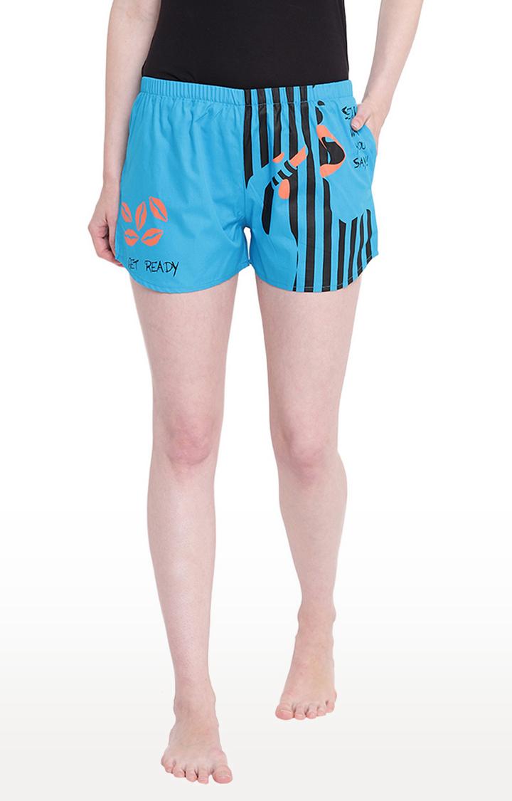 La Intimo   Royal Blue Printed Shorts