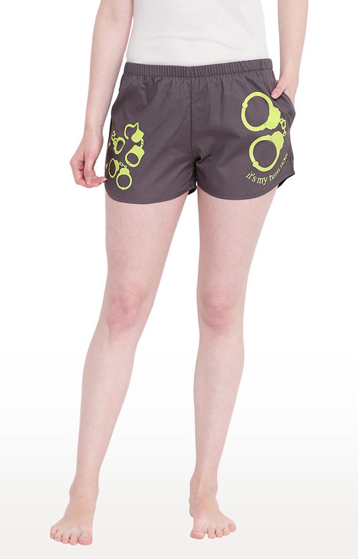 La Intimo   Grey Printed Shorts