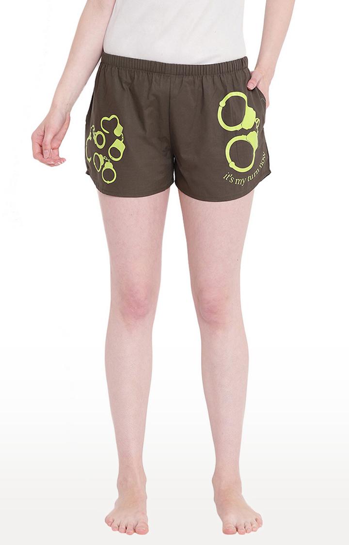 La Intimo   Olive Printed Shorts