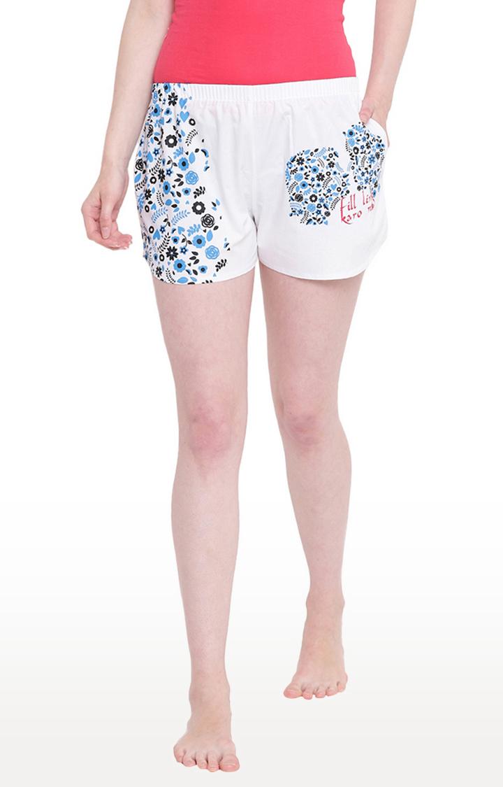 La Intimo   White Printed Shorts
