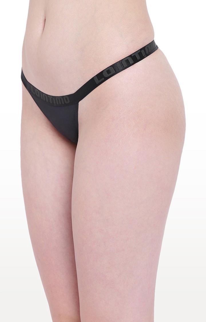 La Intimo   Black Aqua Vogue Thong Panty