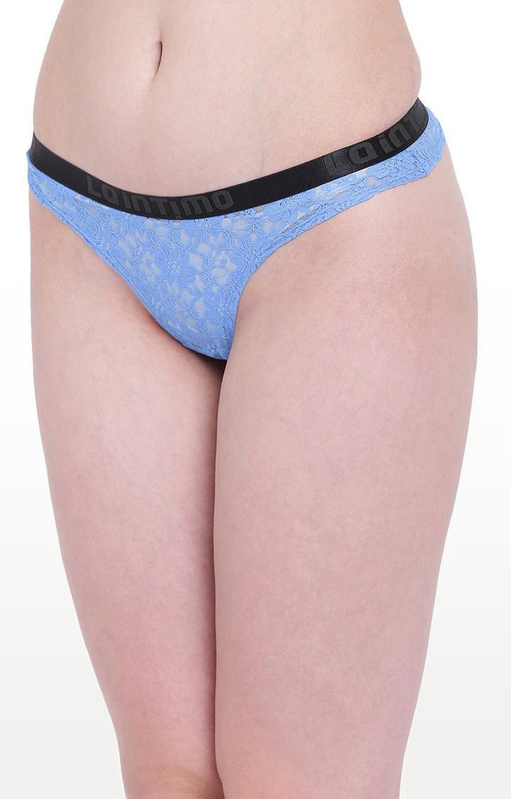 La Intimo | Blue Lacy Affair Thong Panty
