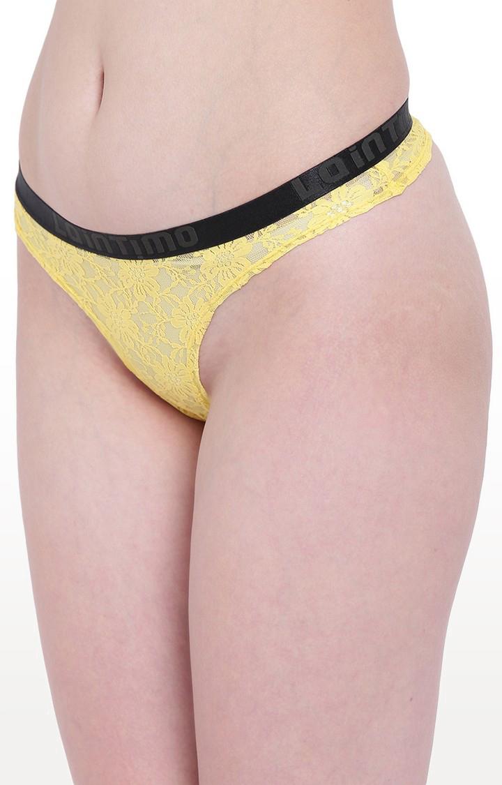 La Intimo | Yellow Lacy Affair Thong Panty