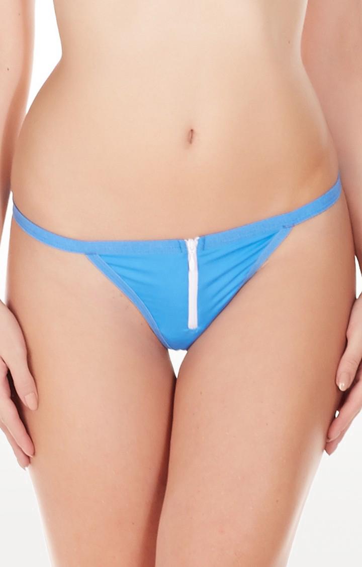 La Intimo | Blue Zipper G-String Thong