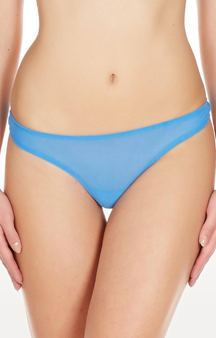 La Intimo | Blue Fine Mesh See Through Thong