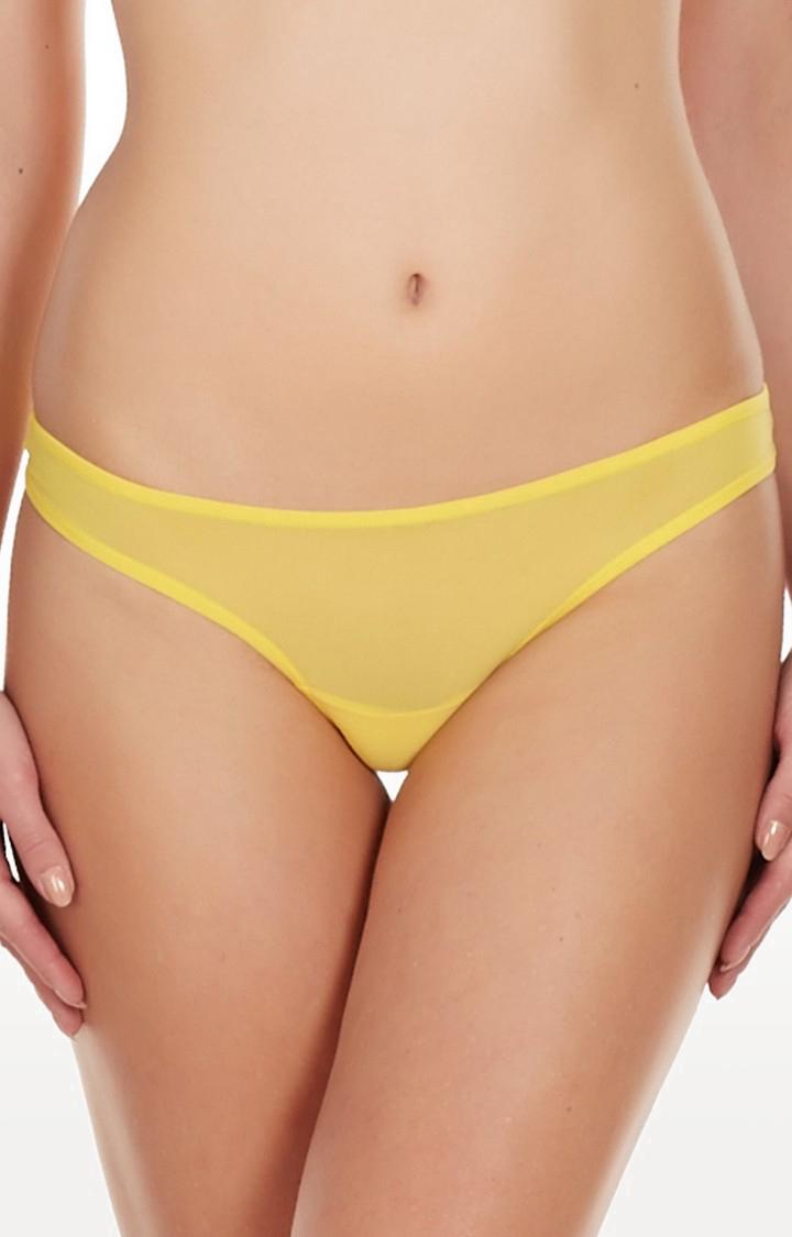 La Intimo | Yellow Fine Mesh See Through Thong