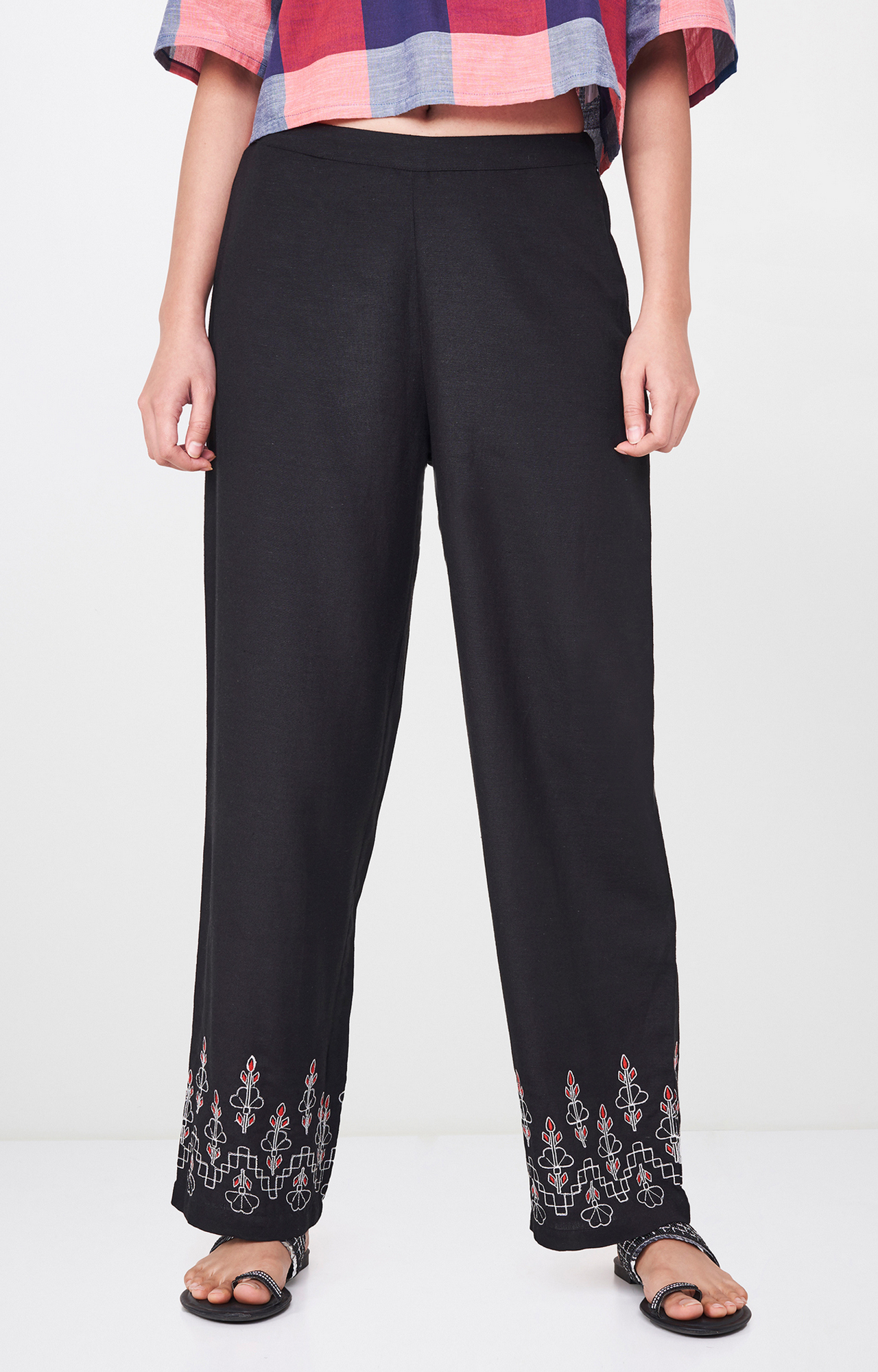 Global Desi   Black Solid Straight Trousers