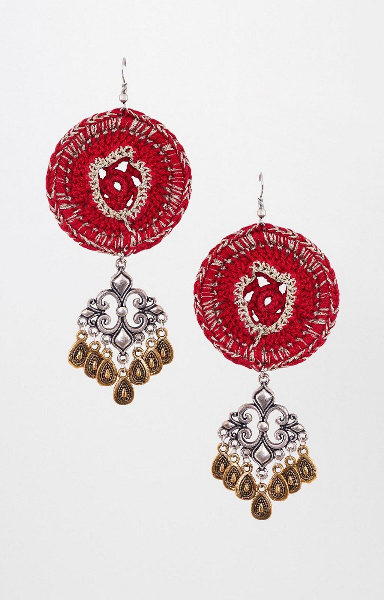 Global Desi   Red Dangle and Drop Earrings
