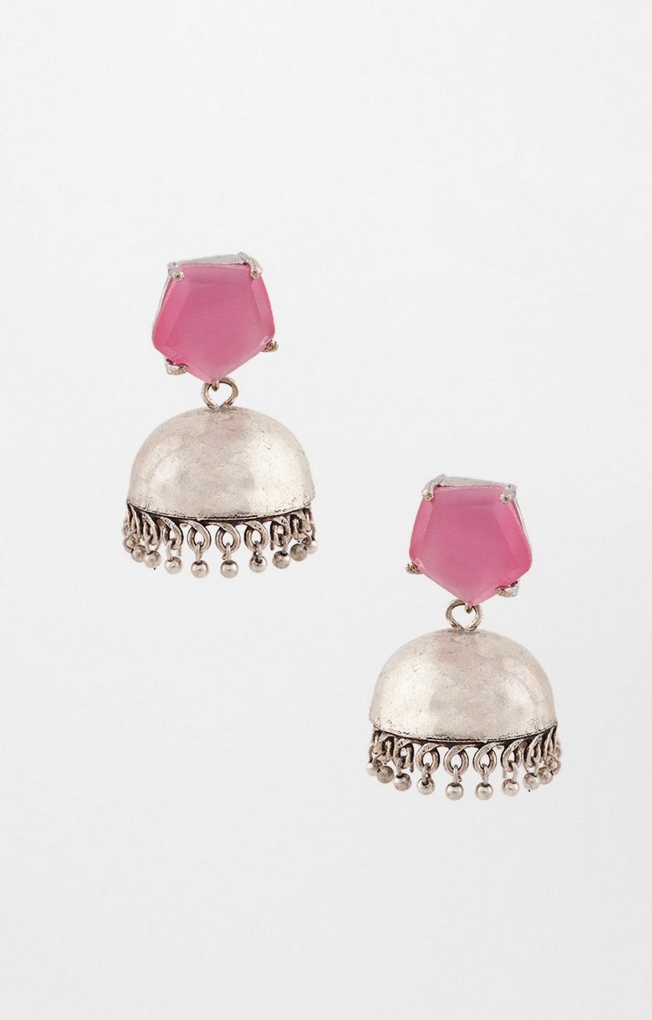 Global Desi   Pink and Silver Jhumkis