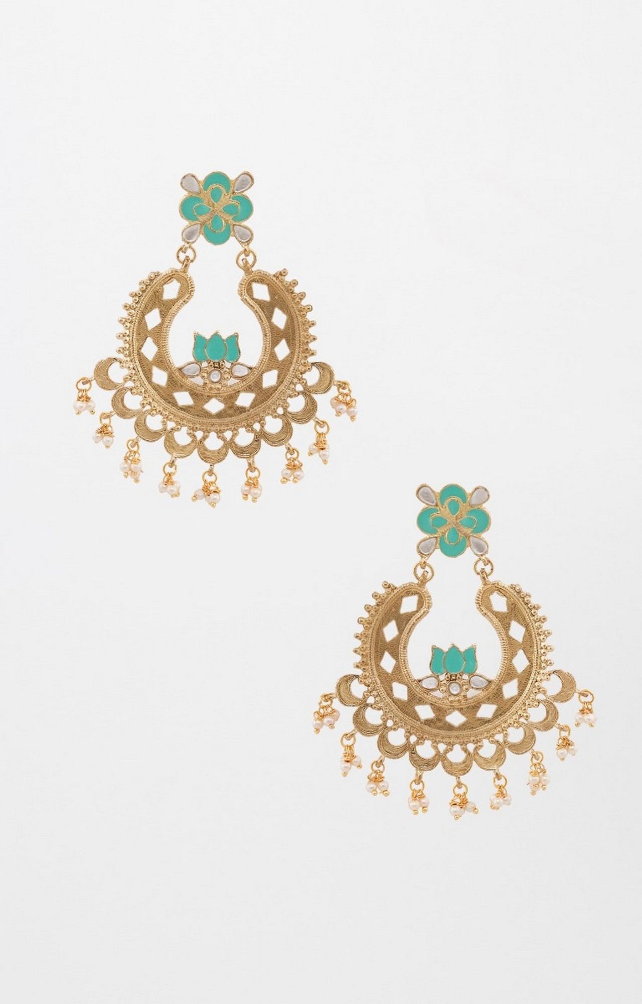 Global Desi   Turquoise and Gold Dangle and Drop Earrings
