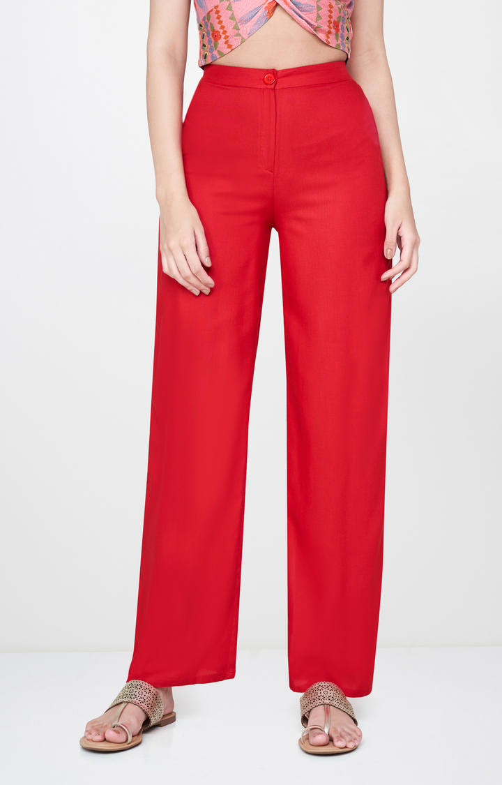 Global Desi   Red Solid Straight Trousers