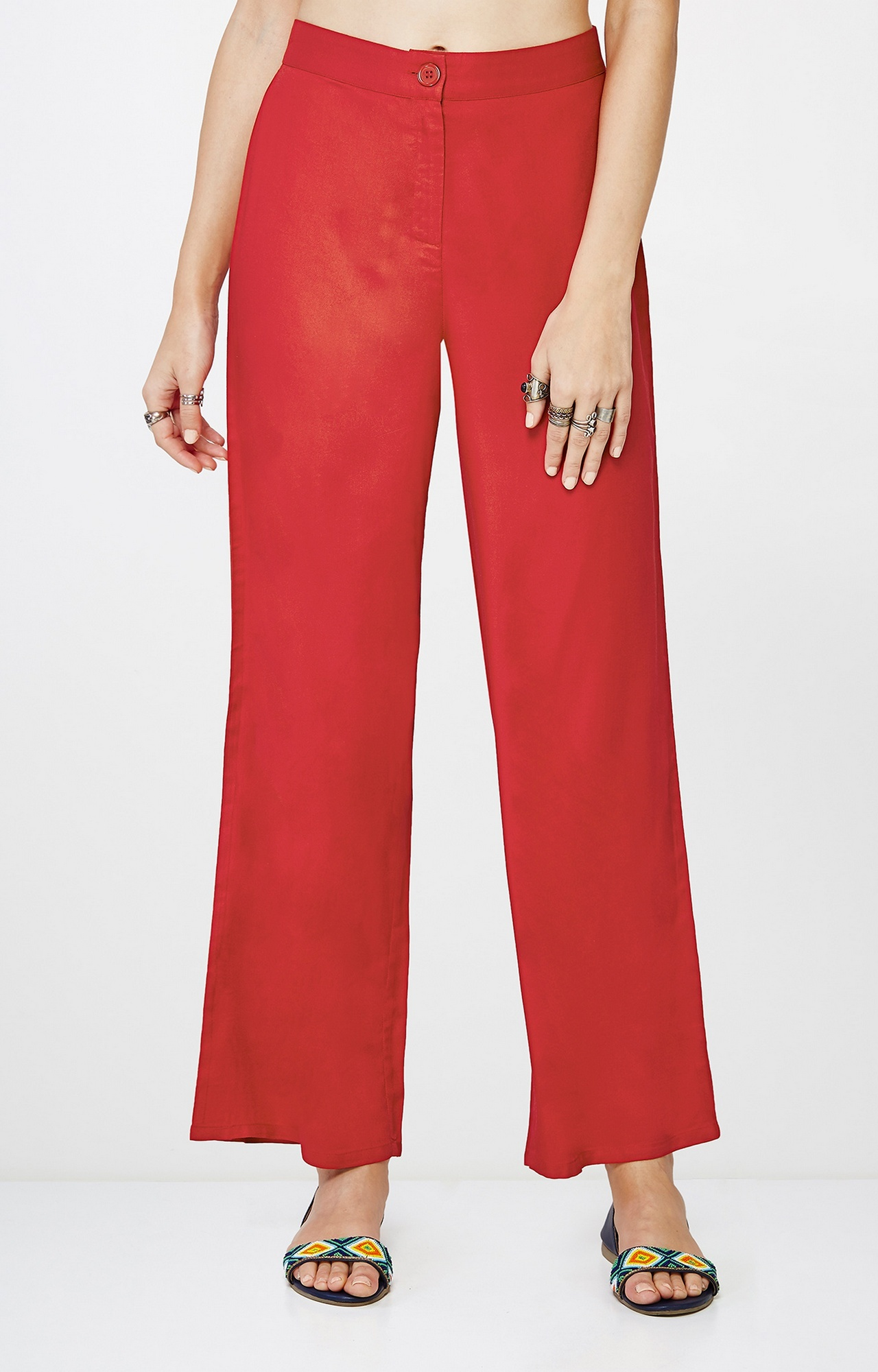 Global Desi   Red Straight Trousers