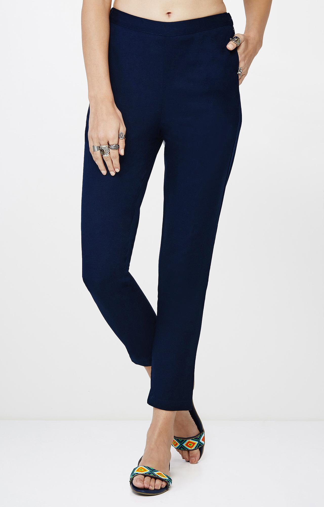 Global Desi   Indigo Cropped Trousers
