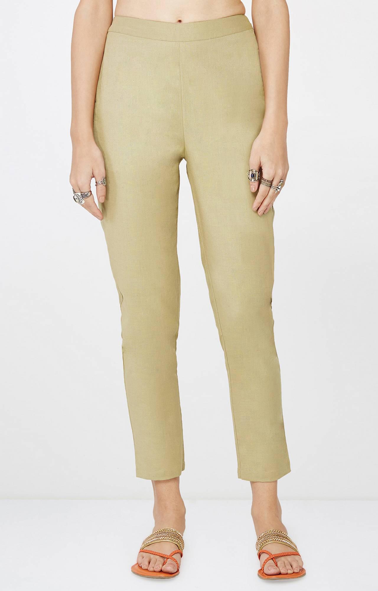 Global Desi   Khaki Cropped Trousers