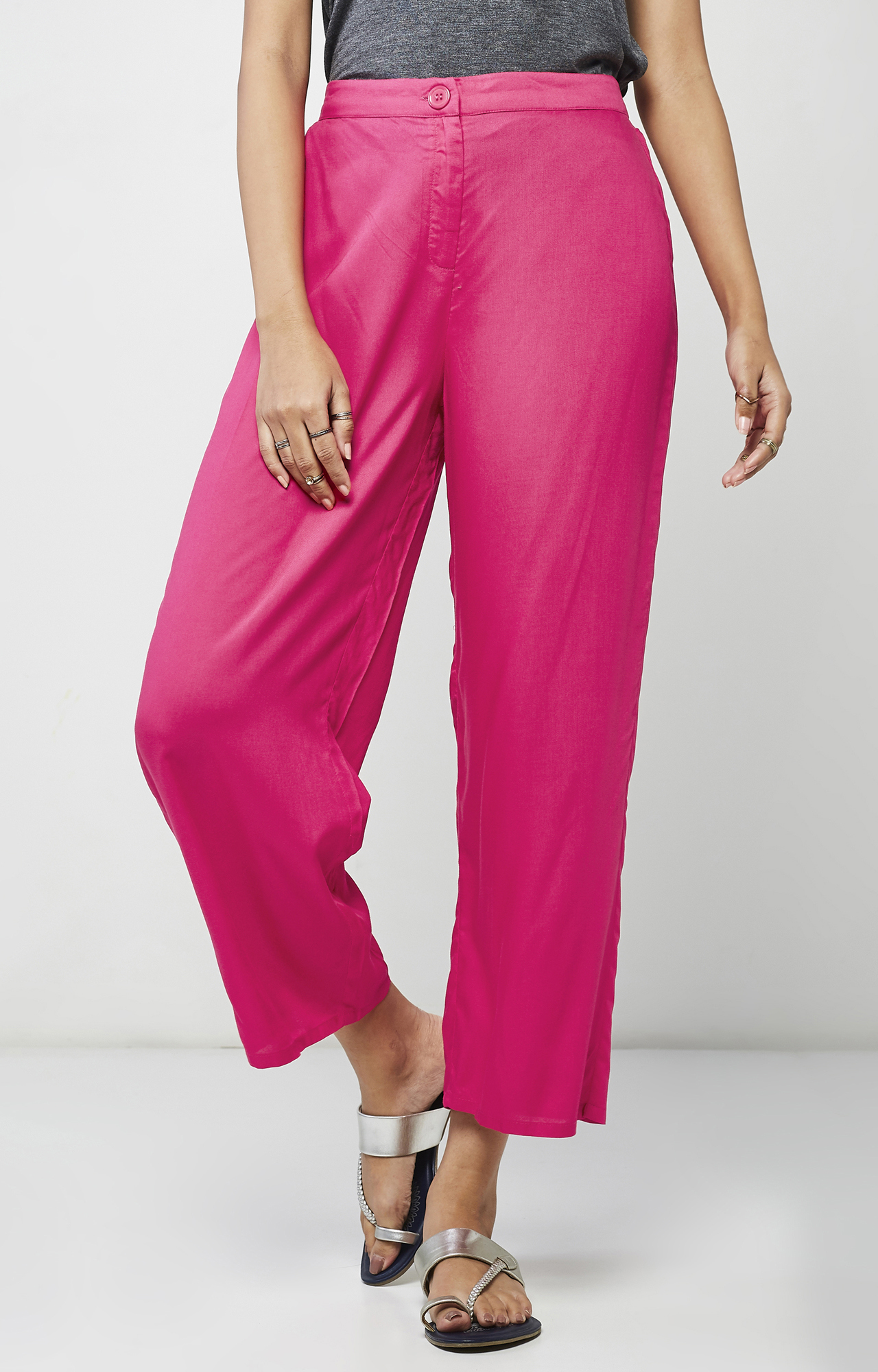 Global Desi   Hot Pink Cropped Trousers