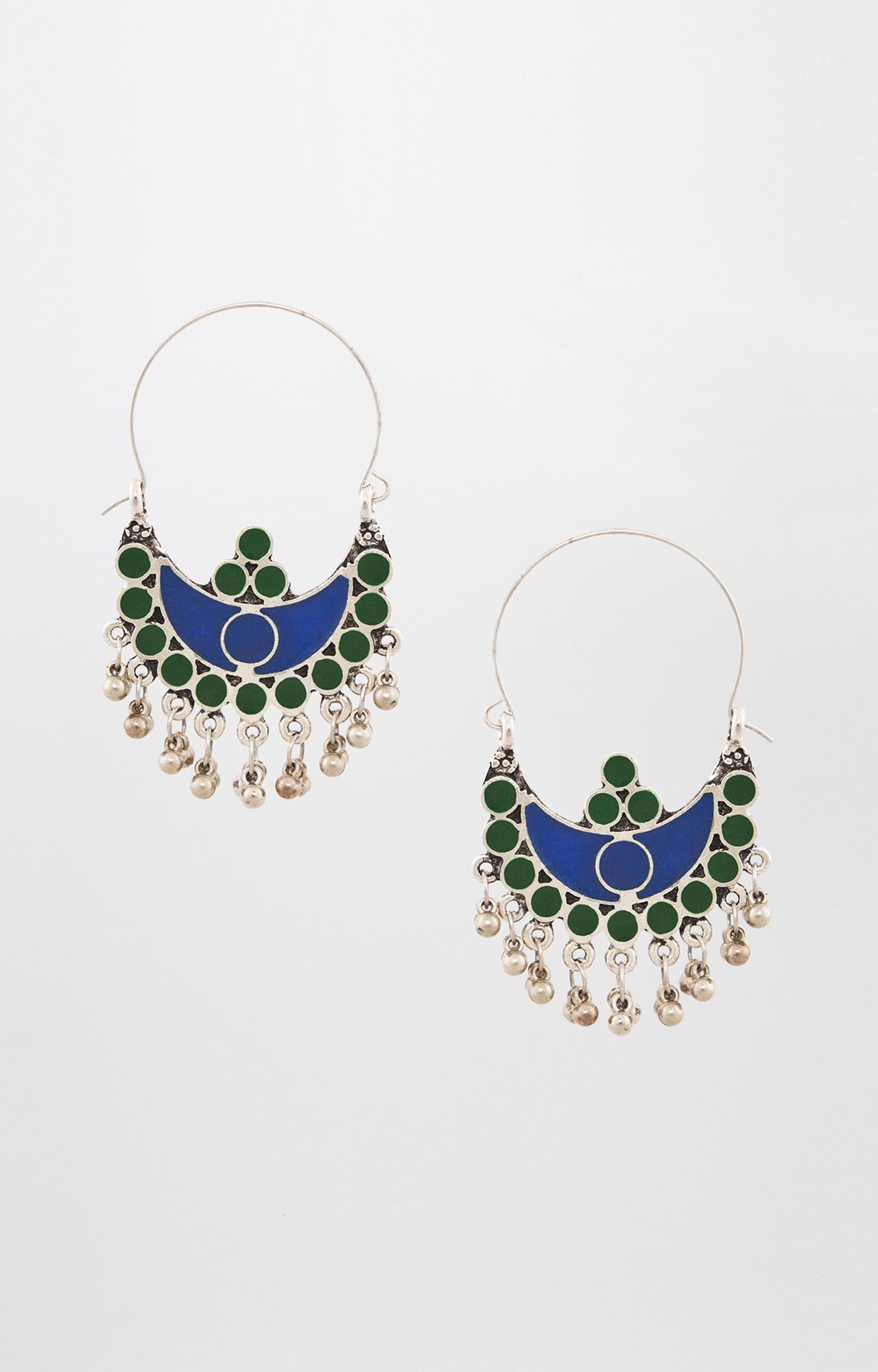 Global Desi   Blue and Green Dangle and Drop Earrings