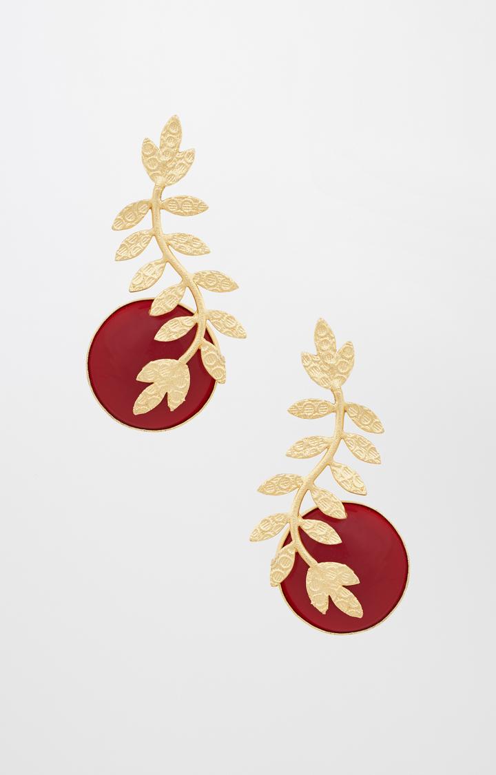 Global Desi | Red Dangle and Drop Earrings
