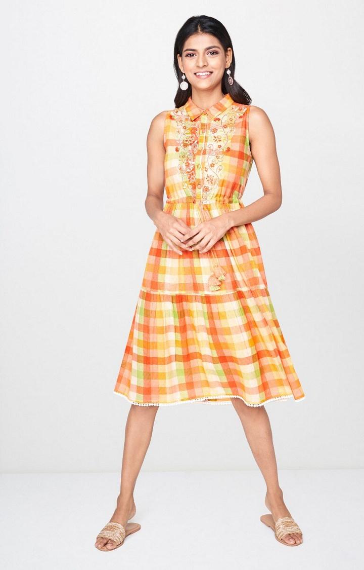 Global Desi | Orange Checked Skater Dress