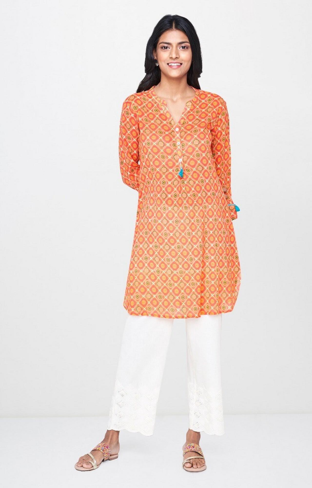Global Desi | Orange Printed Regular Kurti