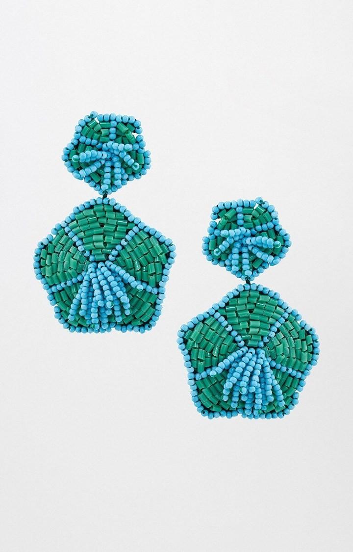 Global Desi | Green Dangle and Drop Earrings