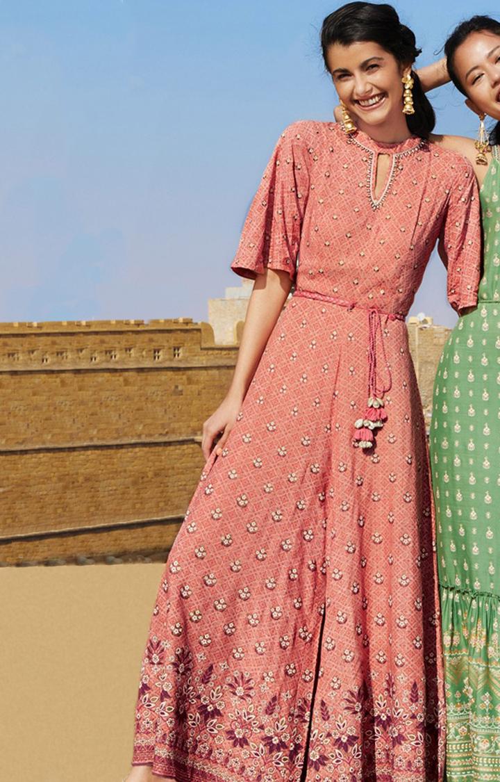 Global Desi   Pink Printed Flared Jumpsuit