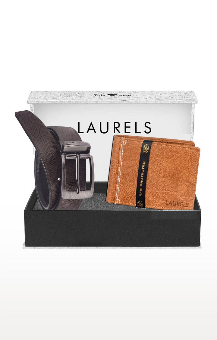 Laurels | Brown and Tan Wallet and Belt Combo