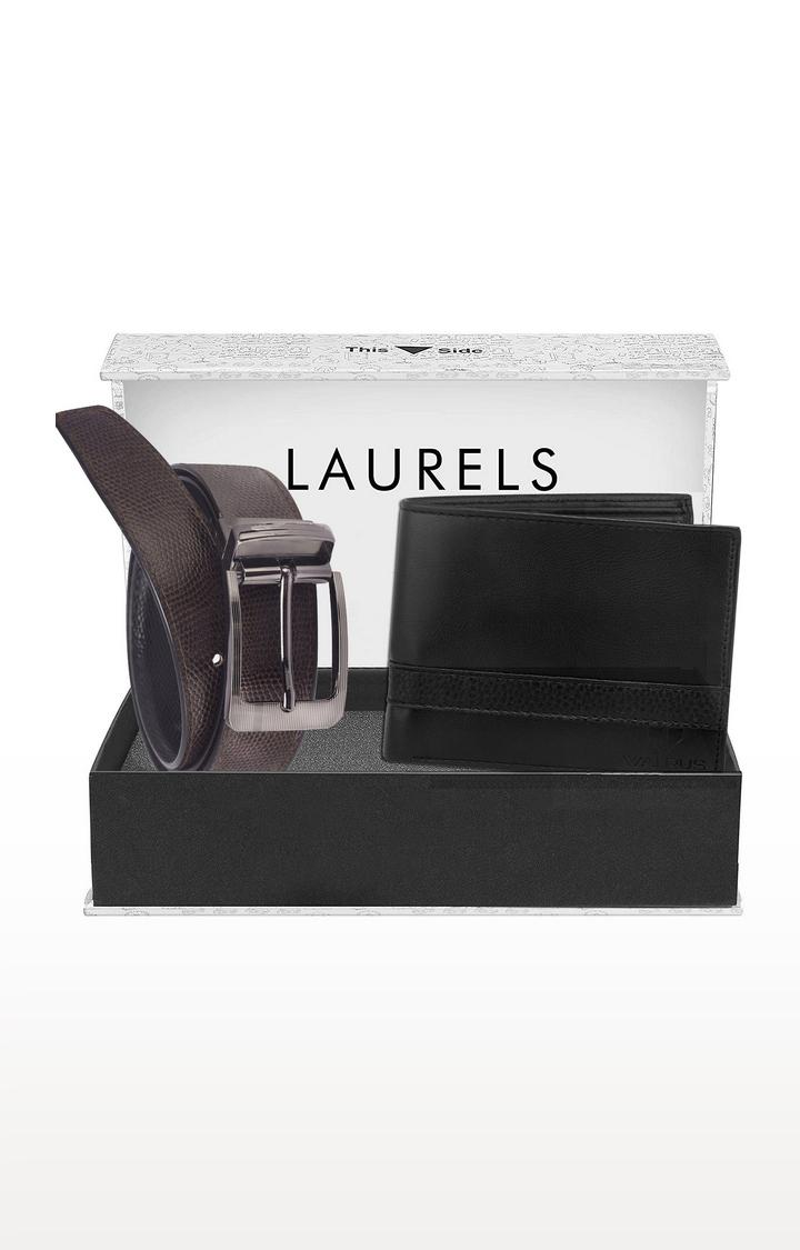 Laurels | Black and Brown Wallet and Belt Combo