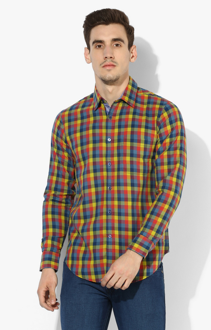 RED CHIEF | Blue & Yellow Checked Casual Shirt