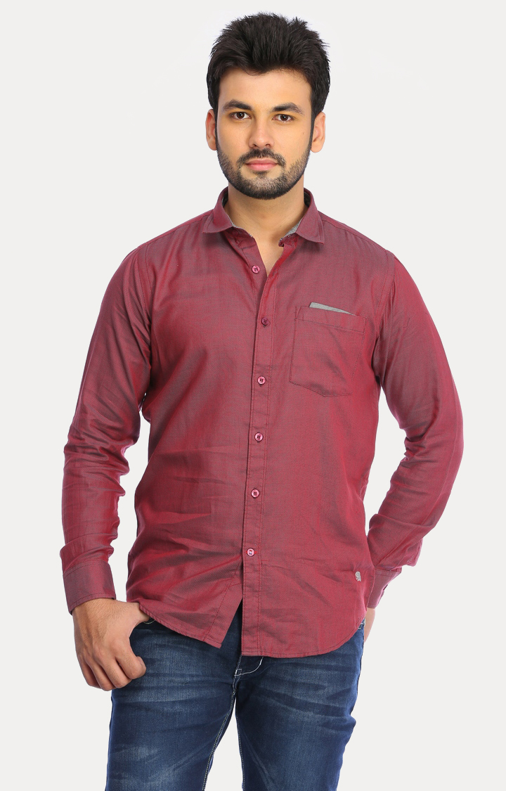 RED CHIEF | Maroon Solid Casual Shirt