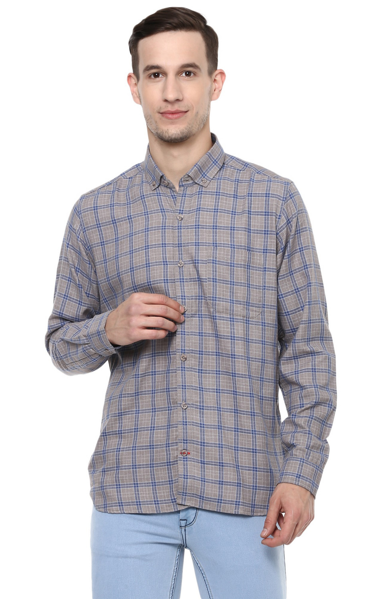 RED CHIEF | Grey Checked Casual Shirt